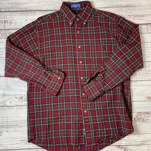 Pendleton Vintage Red Wool Flannel Button Up